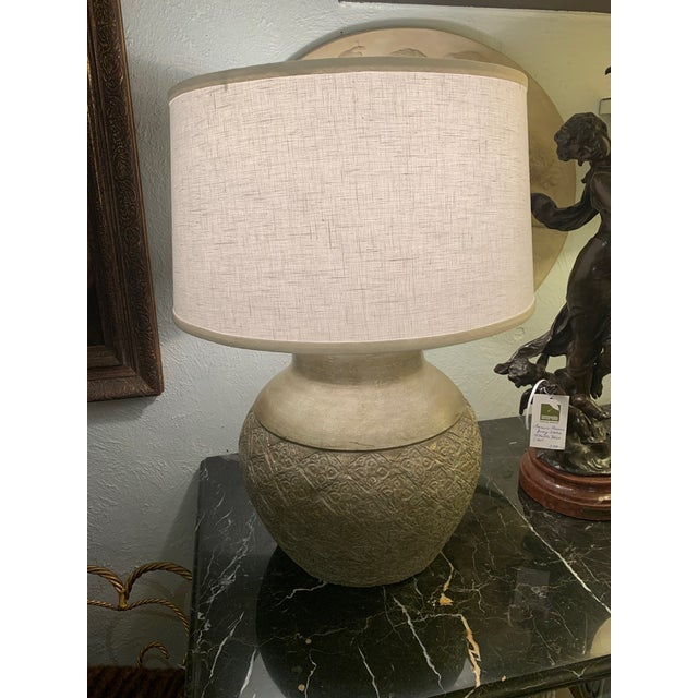 Embossed Metal Round Table Lamp For Sale - Image 13 of 13