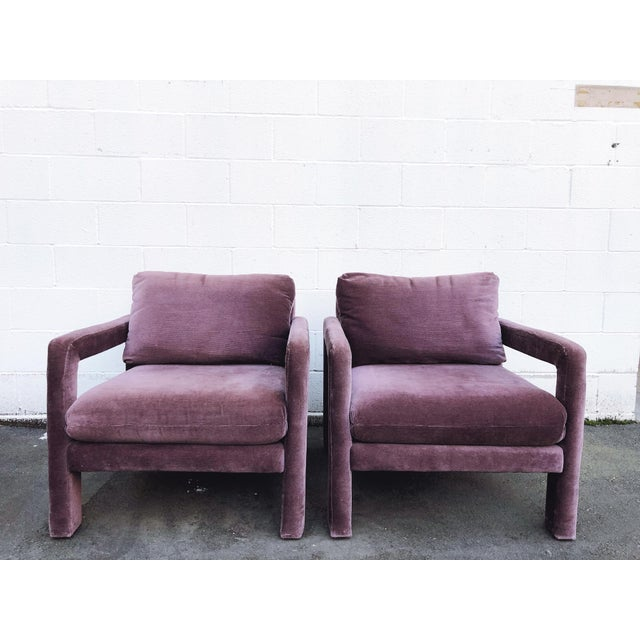 Milo Baughman Style Parsons Armchairs in Original Amethyst Fabric - a Pair For Sale - Image 11 of 11