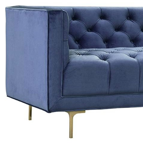 "True blue midcentury style tufted sofa with brushed brass simple legs. Hardwood frame with seat height of 18""."