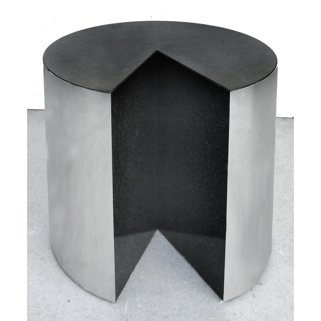 Mid-Century Modern Pace Collection Stainless Steel and Granite Side Tables- a Pair For Sale - Image 3 of 8