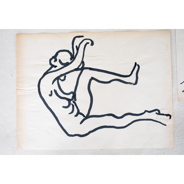 Original Mid-Century Triptych Nude Drawings - Set of 3 For Sale In Providence - Image 6 of 8