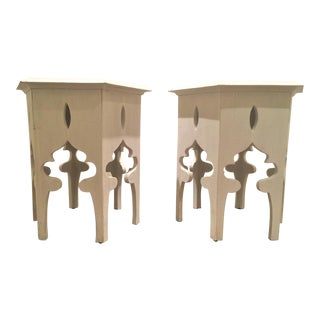Moroccan Noir/CFC White Wooden Hexagonal End Tables - a Pair For Sale