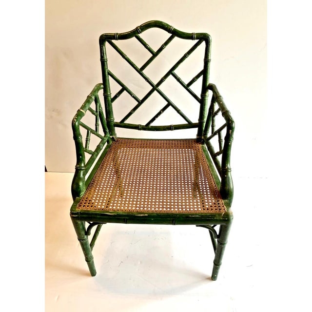 Chinese Chippendale Faux Bamboo Chairs, Set of 6 For Sale - Image 4 of 7