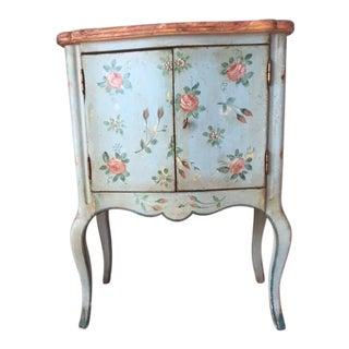 Vintage Comodino Rustic Floral Side Table For Sale