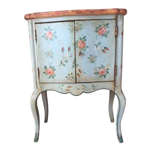Vintage Comodino Rustic Floral Side Table For Sale