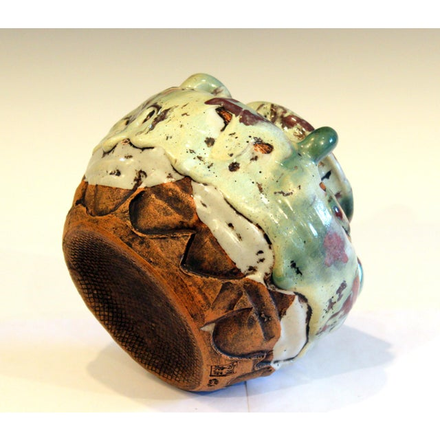 Ceramic Awaji Pottery Manipulated Jar Gloppy Drip Glaze Zen Tea Ceremony Vase For Sale - Image 7 of 12