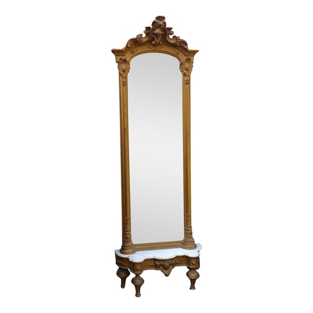 Victorian French Pier Mirror Gilt with Marble Top Stand, 1880s For Sale