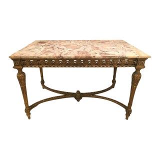 Louis XVI Jansen Style Centre Table with Marble Top For Sale