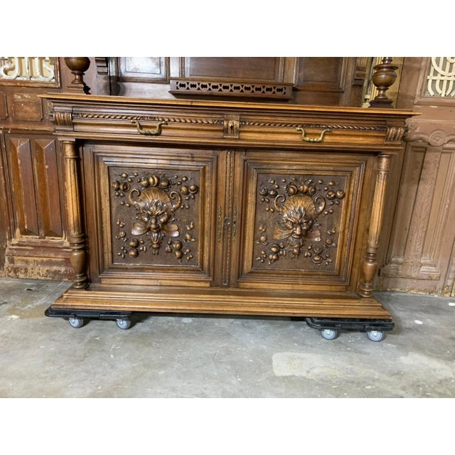 19th Century French Gothic Renaissance Carved Walnut Double Buffet / Cupboard For Sale In Houston - Image 6 of 12