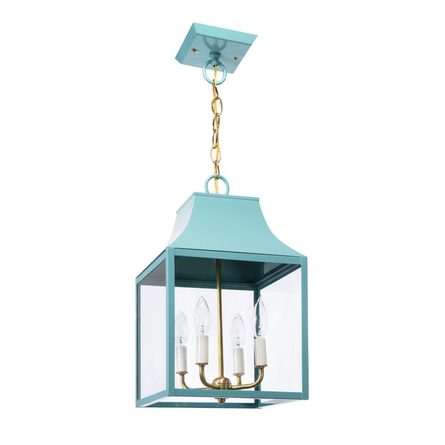 American Lantern & Scroll Lora Gray Collection Hanging Lantern, Blue For Sale - Image 3 of 3