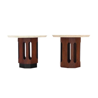 Pair of Octagon Shape Travertine Top End or Side Table on Walnut Bases For Sale