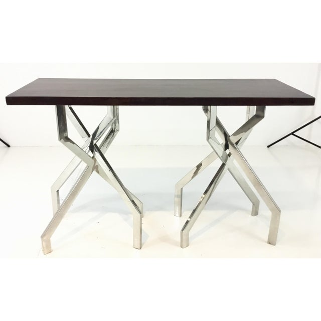 2010s Modern Dark Wood and Chrome Abstract Double Pedestal Console Table For Sale - Image 5 of 5