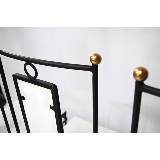 Mid-Century Hollywood Regency Iron & Brass Dining Chairs -Set of 4 - Image 8 of 11
