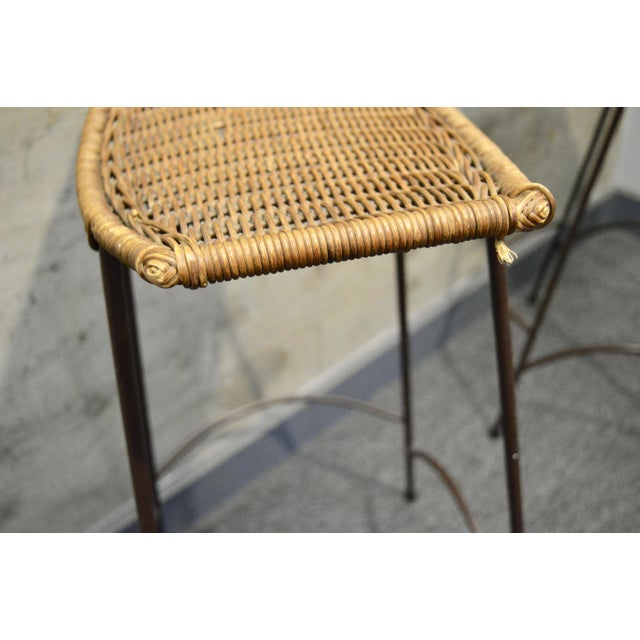 Brown 1960s Vintage Arther Umanoff Style Wicker & Iron Stools- A Pair For Sale - Image 8 of 9
