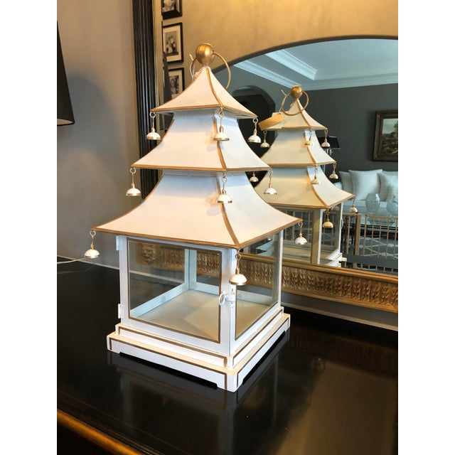 Glass Chinoiserie Metal Pagoda Style Lantern For Sale - Image 7 of 8