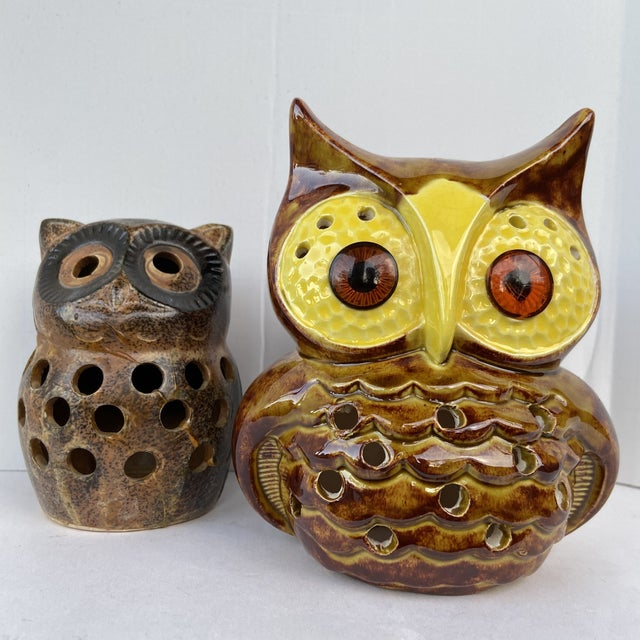 Mid-Century Modern Mid Century Owl Votive Holders - A Pair For Sale - Image 3 of 12