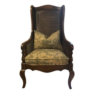 Mid Century Caned Back Wing Chair For Sale
