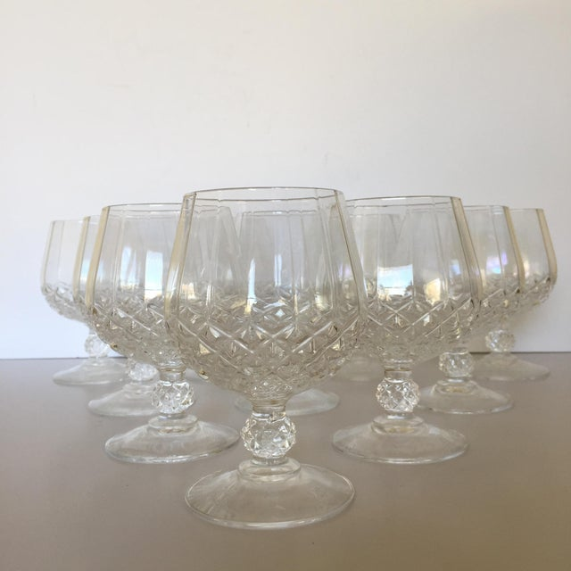 Mid-Century Modern Diamond Faceted Brandy Snifter Glasses by Cristal d'Arques - Set of 10 For Sale - Image 3 of 8