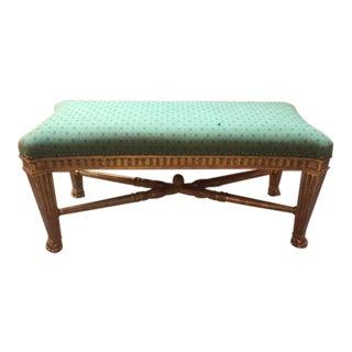 1960s Vintage Dennis and Leen Giltwood Wood Upholstered Bench For Sale
