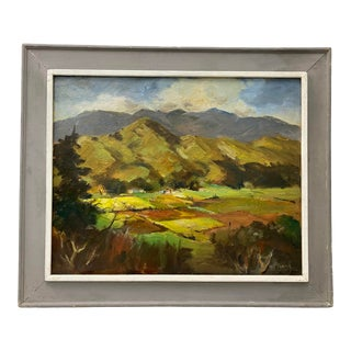"""William (Will) Frates """"Fertile Valley"""" Original Oil Painting C.1950 For Sale"""