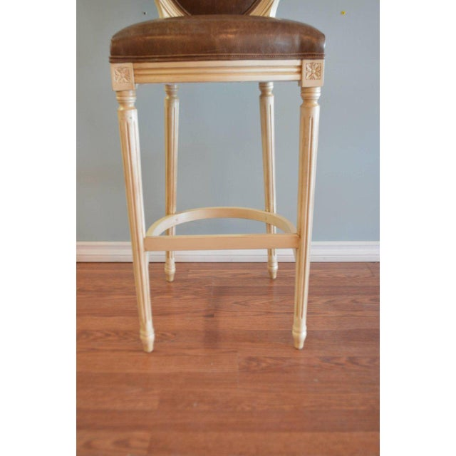 Brown Louis XVI Style Painted Oval Back Bar Stool for Custom Order For Sale - Image 8 of 9