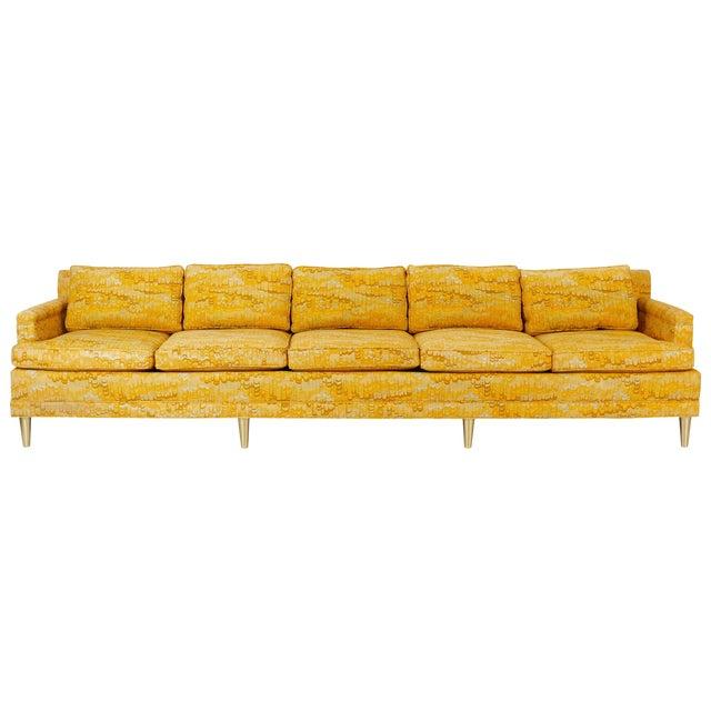 Jack Lenor Larsen 5 Seat Sofa on Brass Legs For Sale