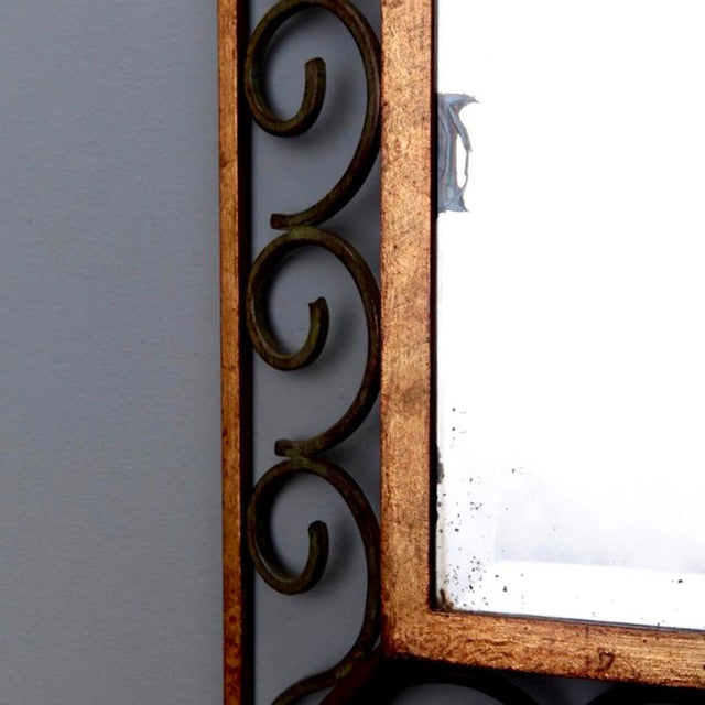 French Art Deco Gilt Iron Framed Rectangular Mirror - Image 6 of 7