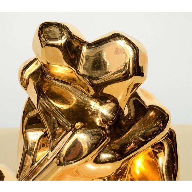Cubism Mid-Century Modern 24-Karat Gold Plated Ceramic Cubist Sculpture by Jaru For Sale - Image 3 of 10