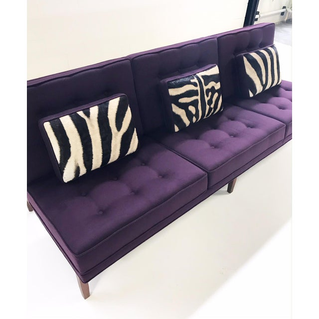 Animal Skin Forsyth Vintage Florence Knoll Sofa Restored in Loro Piana Cashmere With Custom Zebra Hide Pillows For Sale - Image 7 of 13