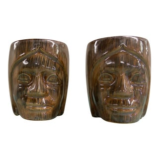 Vintage Paula Marshall Ceramic Tiki Face Coffee Mugs - A Pair