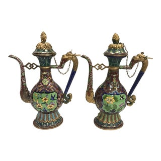Colorful Chinese Cloisonné Brass Pitchers, Evers With Dragons Eating Tails - a Pair For Sale