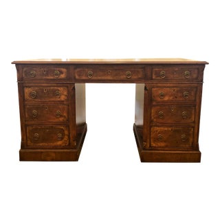 Antique English Walnut Double-Sided Pedestal Desk, Circa 1880 For Sale