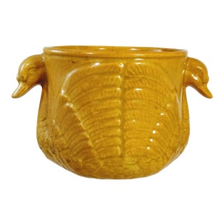 Vintage Yellow Pottery Swan Planter For Sale