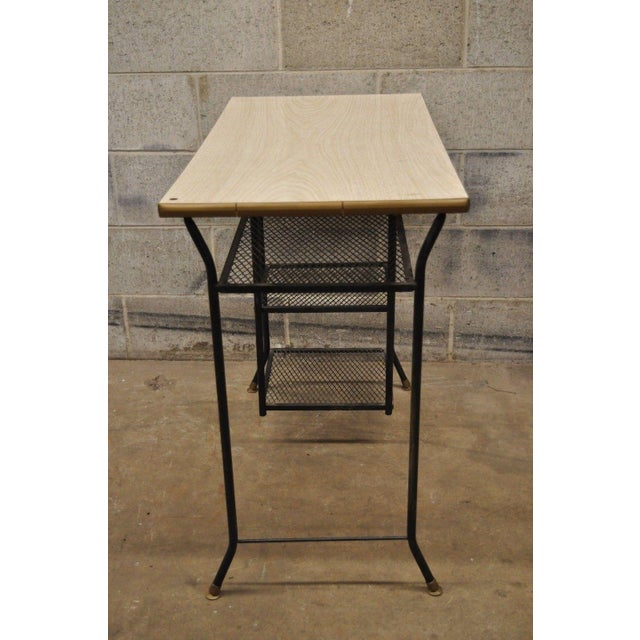 Vintage Mid-Century Modern Wrought Iron & Metal Mesh Small Writing Desk Work Table For Sale - Image 9 of 12