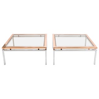 Pair of Square Chrome Copper Coffee Tables Guy Lefevre for Maison Jansen, 1970s For Sale