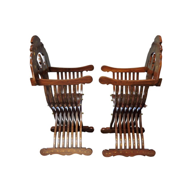 Magnificent Persian Savonarola Folding Solid Rosewood, Brass & Copper Inlayed Armchairs - a Pair For Sale - Image 4 of 8