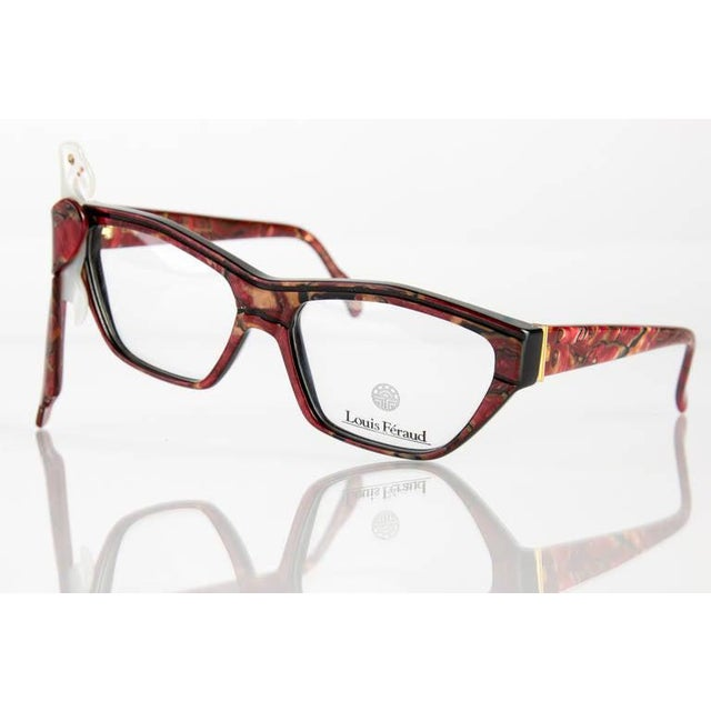 1980s Louis Feraud Parrot Marble Burgundy Glasses Frames for Sunglasses For Sale - Image 4 of 6