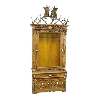 Oak Wood Cabinet With Antler Decoration, 1900 For Sale