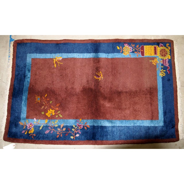 1920s Handmade Antique Art Deco Chinese Rug 3' X 4.11' For Sale - Image 10 of 13