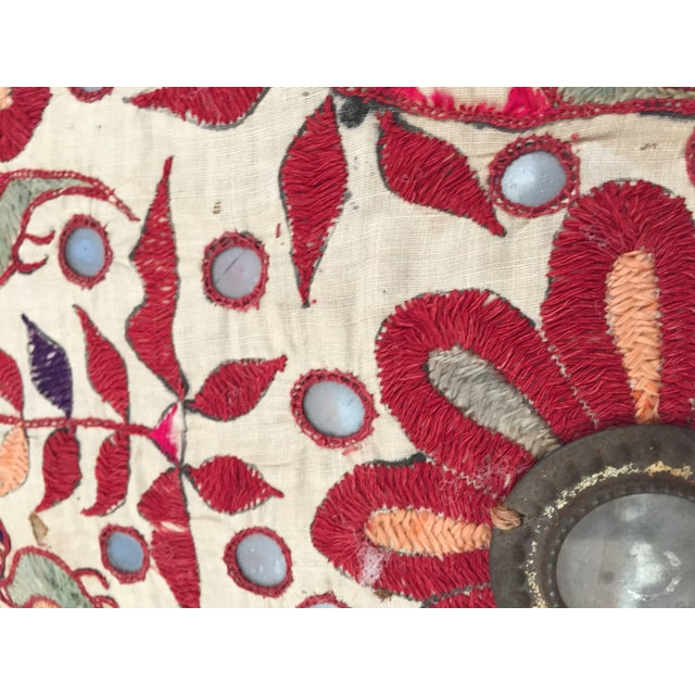 Red 19th Century Rajasthani Colorful Embroidery and Mirrored Decorative Pillow For Sale - Image 8 of 11
