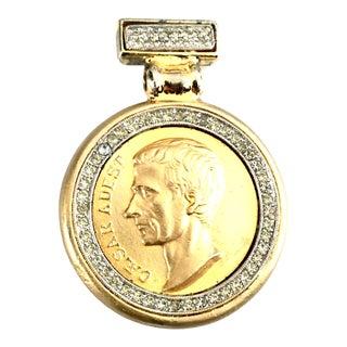 1980's Gold Gilt & Swarovski Crystal Roman Coin Necklace Pendant By, Ben Amum For Sale