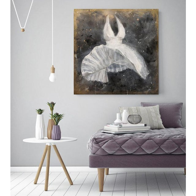 Gallery-wrapped canvas sides painted silver. Ready to hang. Framing optional. Signed by artist. Acrylic and Mixed-Media