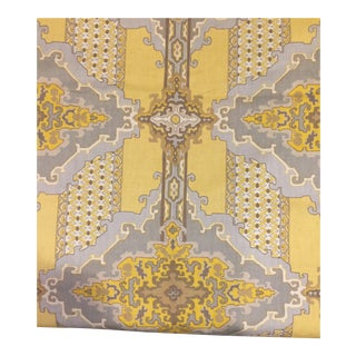 Vintage Yellow & Gray Schumacher Fabric For Sale
