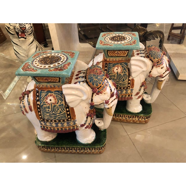 Vintage Hollywood Regency Garden Stools Stands Side Tables Elephants - A Pair For Sale - Image 13 of 13