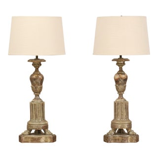 1920s Italian Silver Gilt Lamps - a Pair For Sale