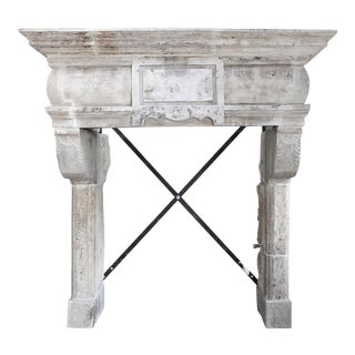 Antique Castle Fireplace of French Limestone, 18th Century, Louis XIII For Sale