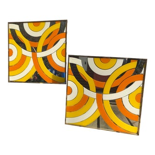 Vintage Mid Century Modern Geometric Mirrors - a Pair For Sale