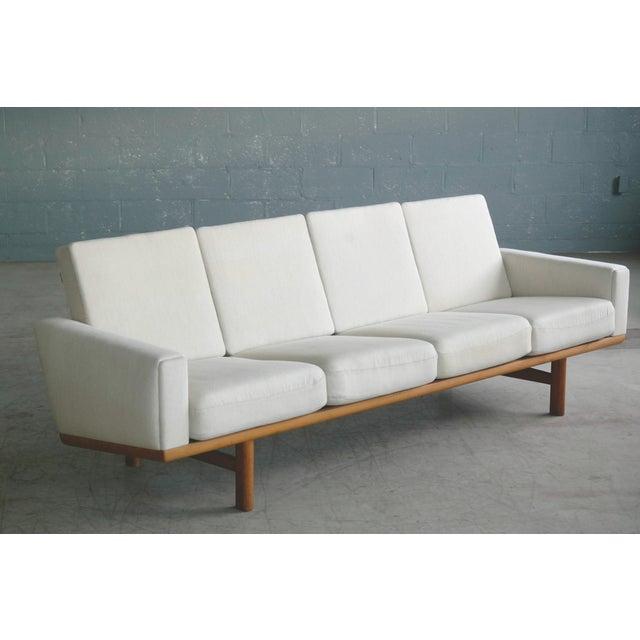 Tan Hans Wegner for Getama Model Ge-236/4 Four Seat Sofa in Oak and Beige Wool For Sale - Image 8 of 11