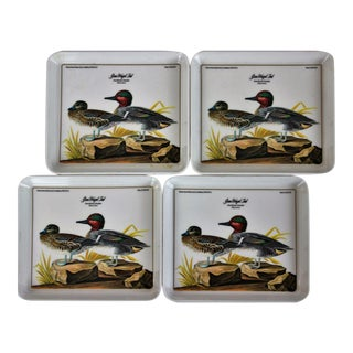 "John James Audubon ""Green Winged Teal"" Coasters - Set of 4 For Sale"