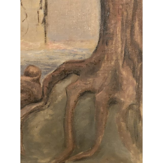 Lovely unframed landscape painting with a surrealist bent. Made in the early 20th century.